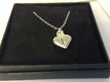 """Heart Padlock TG371 Pewter On 24"""" Silver Plated Curb Necklace"""