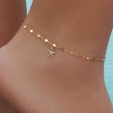STARFISH ANKLET ANKLE BRACELET CHAIN ADJUSTABLE GOLD & SILVER PLATED UK SELLER