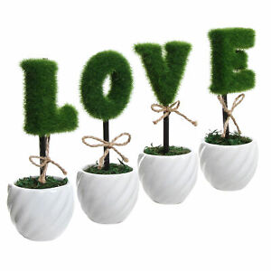 MyGift LOVE Faux Sculpted Topiary Decorative Hedge Letters in White Ceramic Pots
