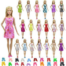 10 Set Barbie Doll Mini Sleeveless Gown Dress Skirt Shoes Birthday Party Clothes