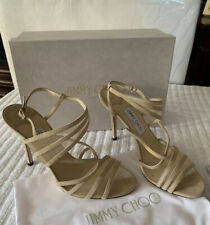 NWB!! Jimmy Choo Visby Almond Suede Crisscross Ankle Sandal Shoes Size 40/9