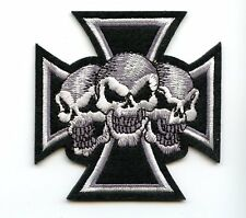 LARGE Multese Cross 3 SKULLS Patch perfect for Leather Vest  GOOD CENTER PIECE