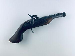 Deko Steinschloß Pistole mit schönen Verzierungenaus Holz und Metal