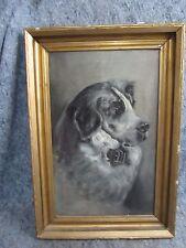 Antique Dog Portrait Oil on Canvas Painting Signed C Spiecl West Virginia Estate