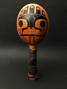 Northwest Coast Rattle Haida Wood Painted Aboriginal Native Tribal Art