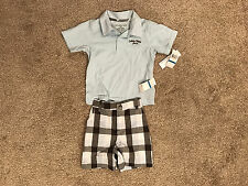 Calvin Klein Jeans Light Blue Shirt Plaid Short Set 24m NWT