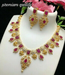 Indian Bollywood Gold Plated CZ AD Red Wedding Jewelry Necklace Earring Set