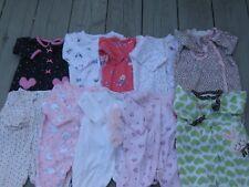 Baby Girl 3 Months Sleepers Sleep & Play Sleepwear Clothes Lot All Snap Up