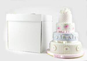 """Heavy Duty White Stacked Wedding Cake Boxes Extra Strong 16"""" High - Select Size"""