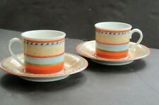 (2) Sets Villeroy & Boch Switch 4 NAVARRA Cups & Saucers ~4 Pieces~ Very Good