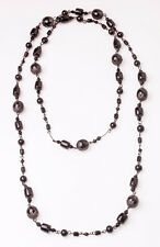 STYLISH EXQUISITE GOTH CHIC LONG BLACK BEADS/METAL NECKLACE (ZX24)