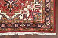 Decorative Heriz Geometric Oriental Area Rug Wool Hand-Knotted 5'x6' RED Carpet