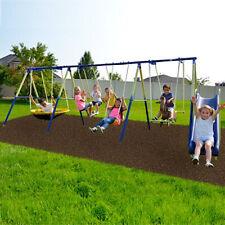 Super8 Metal Swing Set Kids Playground Slide Outdoor Backyard Children Play