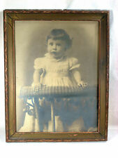 Sepia tone victorian era vintage photograph young child in chair 12 x 22 framed