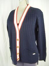CELINE Vtg 80s Designer Navy/Cream/Red 100% New Wool Cardigan Sweater-Bust 44/M