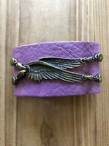 """Lenny and Eva ~ Wide Leather Cuff with """"Take Flight"""" Wings ~ Free Shipping"""