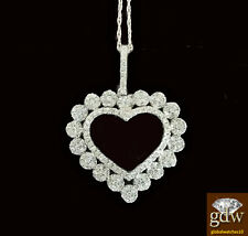 Brand New 10k White Gold Heart Shaped Pendent with Real Diamonds and Chain.