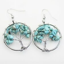 Green Turquoise Chip Beads Tree of Life Round Reiki Chakra Silver Hook Earrings