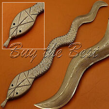 BEAUTIFUL CUSTOM HAND MADE FULL DAMASCUS STEEL HUNTING DAGGER SNAKE BOWIE KNIFE