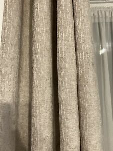 Next Heavyweight Chenille Eyelet Lined Curtains Natural Beige117x229cm 46x90""