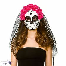 Ladies Halloween Day of the Dead Sugar Skull Mask Veil Fancy Dress Accessory