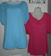 2 x Ladies Blue & Pink George Short Puffy Sleeve Viscose Polyester Top Size 14