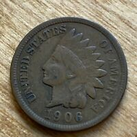 FREE SHIP! VG+ 1906 Indian Head Cent -115 Year Old Penny - Philadelphia Coin -L8