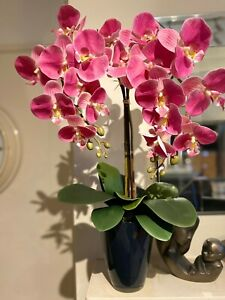 LUXURY FAUX PINK ORCHID, ARTIFICIAL FLOWERS, SLATE GREY POT, CHRISTMAS HOME GIFT
