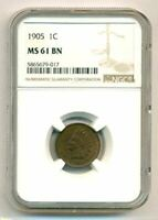 1905 Indian Head Cent MS61 BN NGC