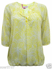 New Ex M&S Ladies Yellow Floral Jersey Casual Summer Top Size 8 - 22 3/4 Sleeve