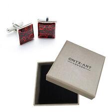 Mens Red Rose Romantic Valentines Cufflinks & Gift Box By Onyx Art