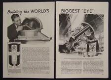 1936 Mount Palomar Telescope Observatory original vintage Construction pictorial