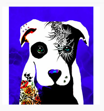 "NEW Fine Art Dog PITBULL print TATTOO  8x10""  Poster PIERCING pit bull ZA110"