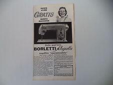 advertising Pubblicità 1961 MACCHINA PER CUCIRE BORLETTI SUPERAUTOMATICA