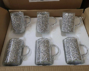XL Sparkly Crushed Diamond Crystal Filled Mugs Set Of 6 Silver Kitchen Bling UK✨