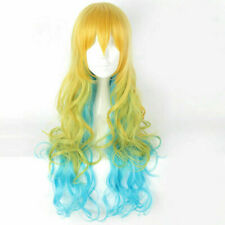 "Long Wavy Blonde Green Blue 32"" Cosplay Wig w/ Ombre Bangs + Cap"