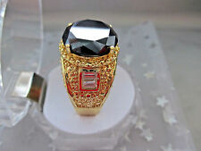 Antique Style 6+Ct,13mm Black Diamond14K Yellow Gold plated ring for Men