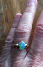 1980s Vintage Original 9ct Yellow Gold & Natural Australian Black Opal Ring.
