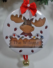 CUSTOM PERSONALIZED CHRISTMAS HOLIDAY ORNAMENT MOOSE FACE YOUR NAME YEAR & DATE