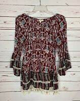 Entro Boutique Women's M Medium Burgundy Boho Bell Sleeves Cute Top Blouse Shirt