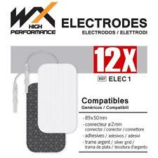 12 Electrodos adhesivos Compatibles RECTANGULARES 89 X 50 mm conector 2 mm