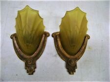 ANTIQUE PAIR ART DECO SLIP SHADE WALL SCONCE LIGHT FIXTURE ELECTROLIER THEATER