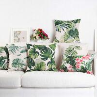 Cotton Linen Green Tropical Pillow Case Waist Throw Cushion Cover Home Decor