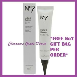 Boots No7 Instant Illusions Wrinkle Filler Anti-Ageing Eyes & Face 30ml FREE BAG