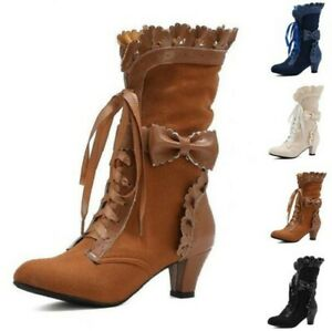 Sweet Women Kitten Mid Heel Round Toe Casual Steampunk Ankle Boots Lolita Club D