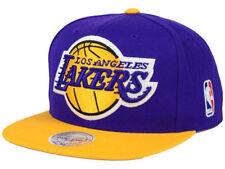 Los Angeles LA Lakers NBA Mitchell & Ness 2T XL Logo Hat Snapback Cap Prpl/Gld