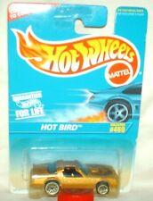 Hot Wheels 1996 # 469 Hot Bird gold,black int,unpainted metal base ex.card