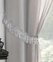 GLITTERY SILVER FRINGE DETAIL GREY SOFT TASSEL VOILE CURTAIN TIEBACK £4.99 PAIR