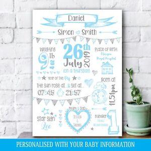 Personalised Birth Details Newborn Baby Picture, BOY Gift, Pink Nursery Art 40