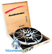 """2pc 15"""" CHROME AFG15C AUDIOBAHN SUBWOOFER WOOFERS COVERS FLAME GRILLS PAIR NEW"""
